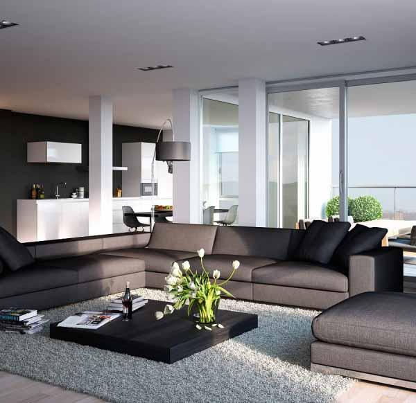 Contoh-Desain-Interior-Apartemen-Minimalis-Kontemporer-Hitam-dan- & Pengertian Desain Rumah Kontemporer \u0026 Contoh Desain Ruang Tamu ...